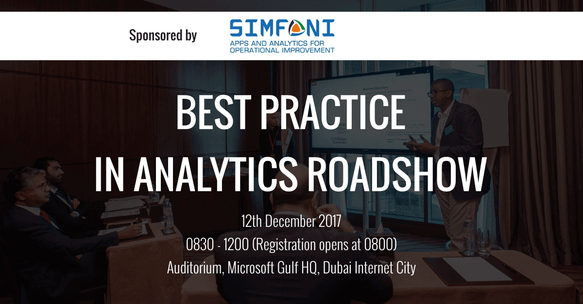 Event – Best Practice in Analytics Roadshow – Sponsored by Simfoni