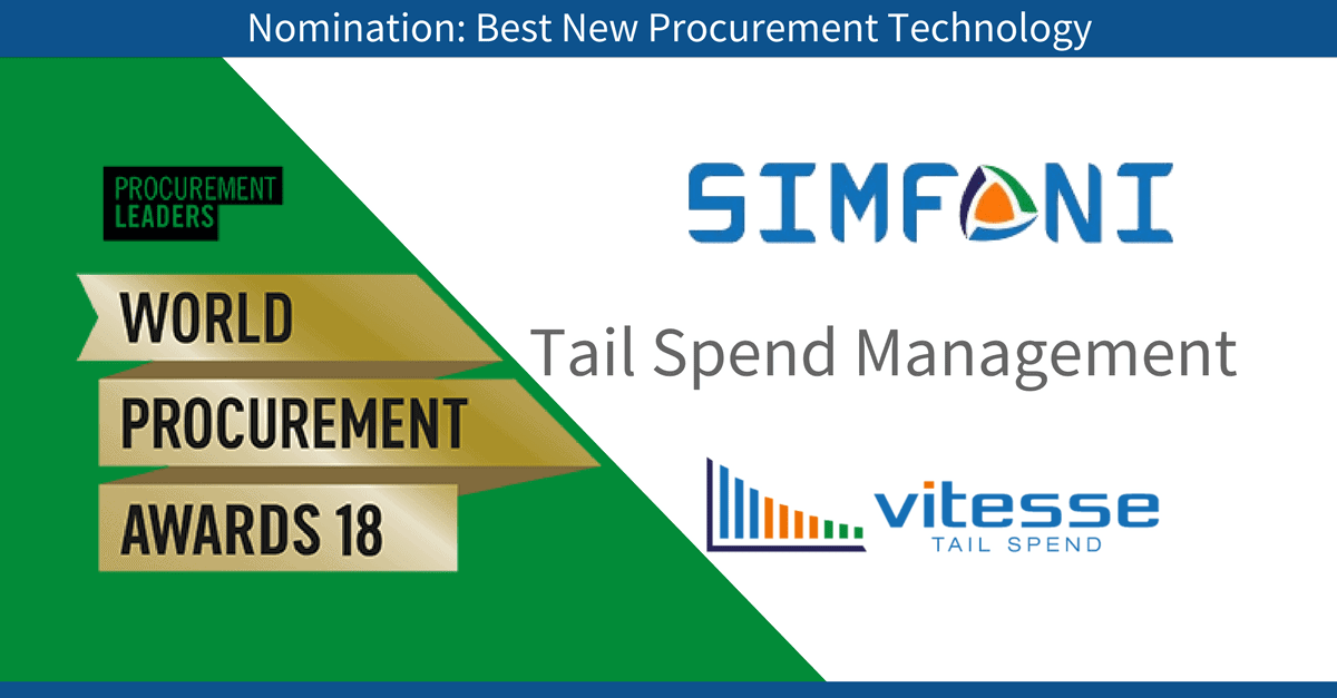 "Simfoni recognized at World Procurement Awards in ""Best New Procurement Technology"" category"